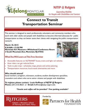 Connect to Transit Lifelong Montclair - 3-18-15 MAM